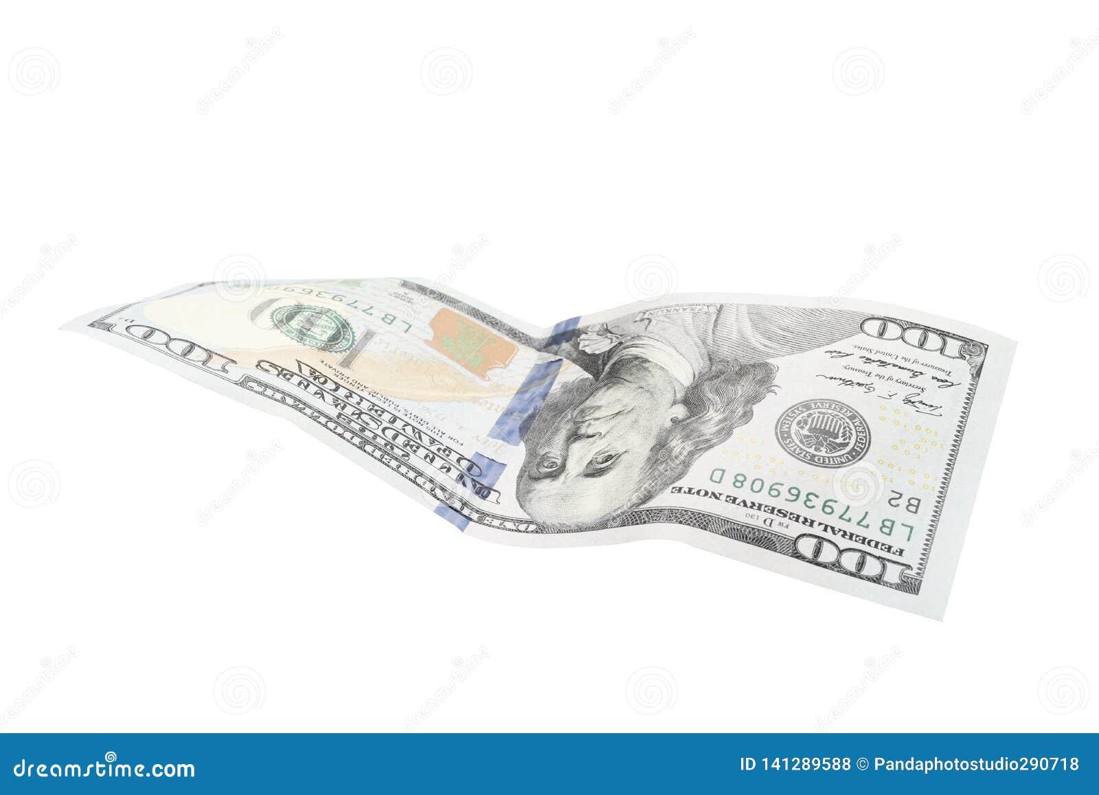 Cento dollari isolati su priorità bassa bianca