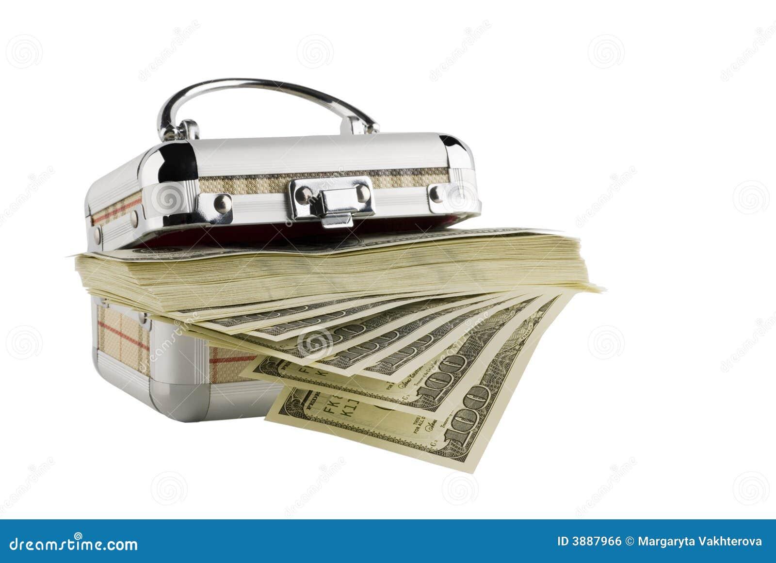 Cento fatture del dollaro in una casella su un bianco