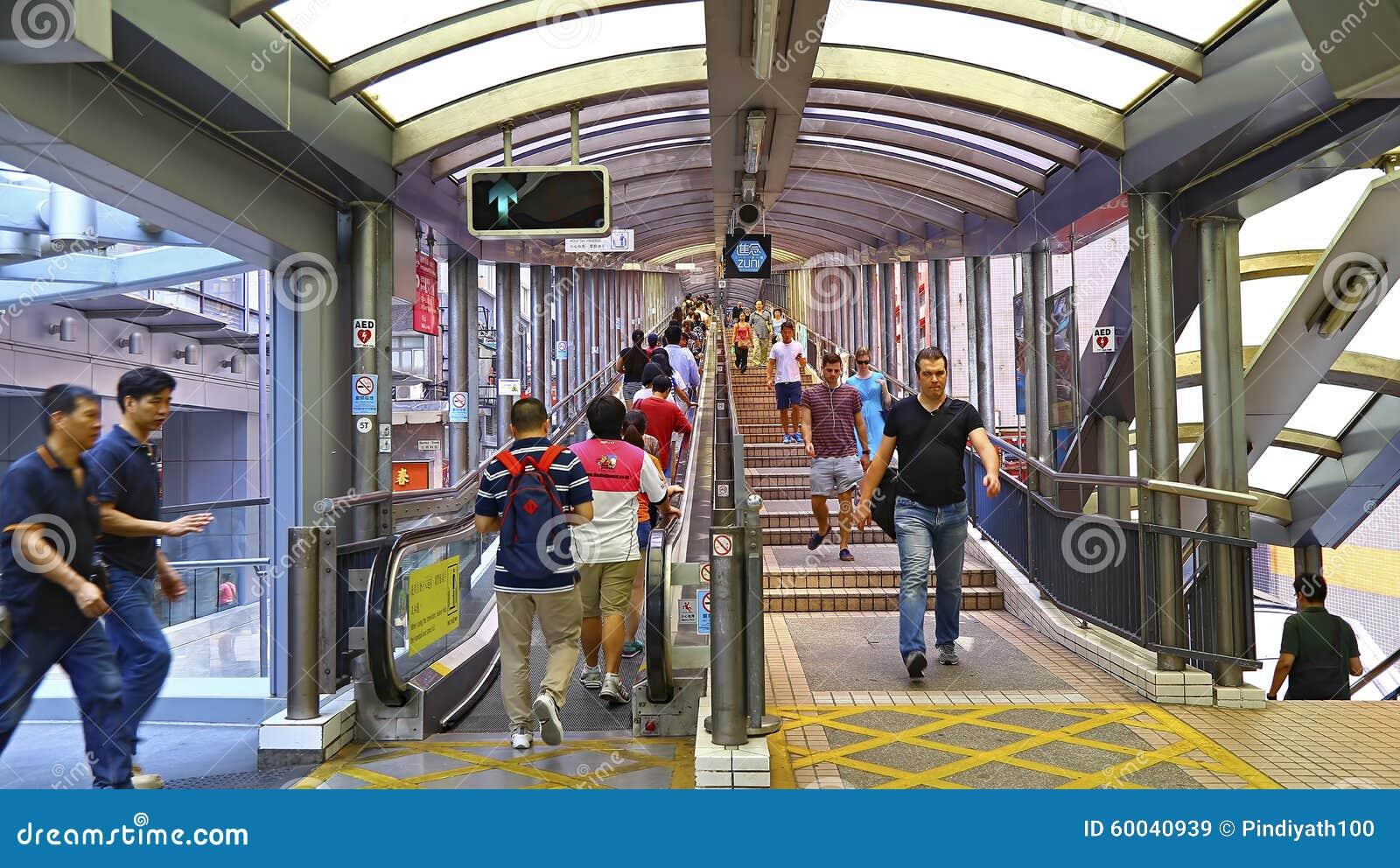 Centraal medio niveausroltrap en gangsysteem in Hongkong