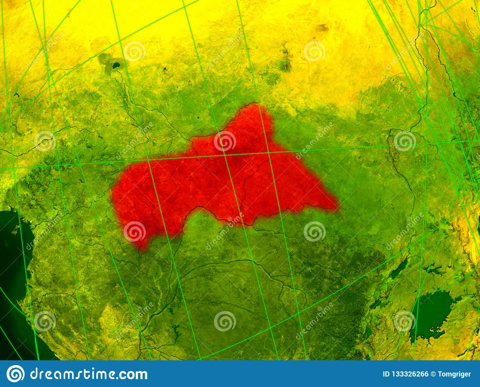 Central Africa On Digital Map Stock Illustration - Illustration of on