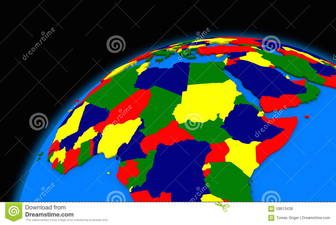 Central Africa On Planet Earth Political Map Stock Illustration