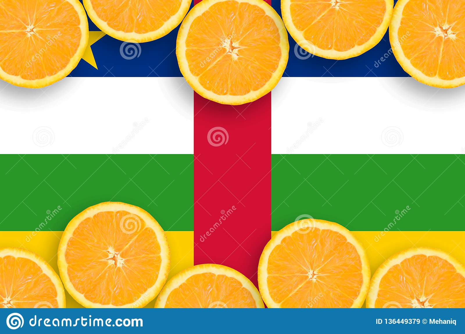 Central African Republic flag in citrus fruit slices horizontal frame