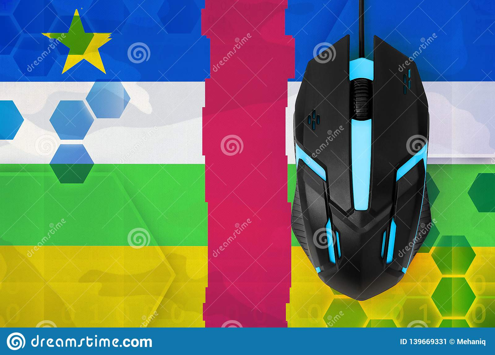 Central African Republic flag and computer mouse. Concept of country representing e-sports team