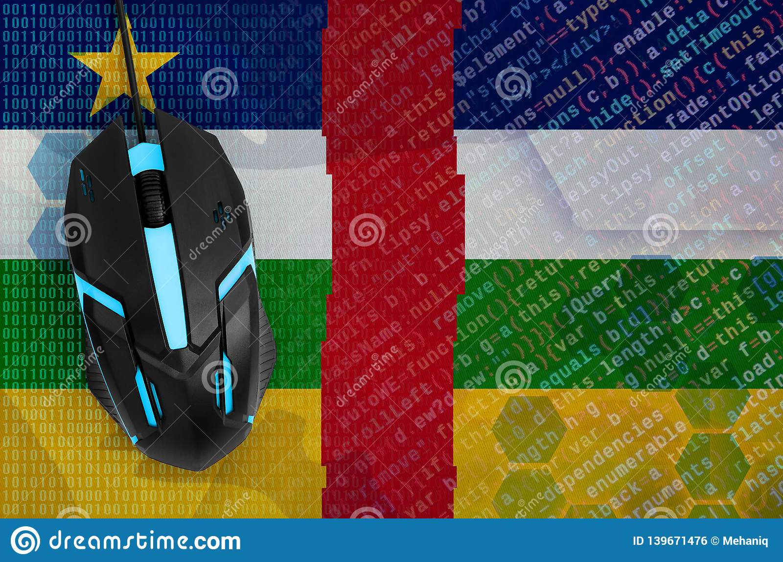 Central African Republic flag and computer mouse. Digital threat, illegal actions on the Internet