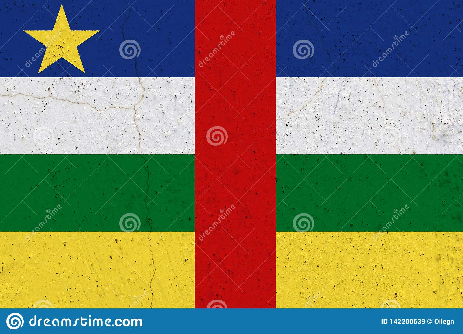 Central African Republic flag on concrete wall