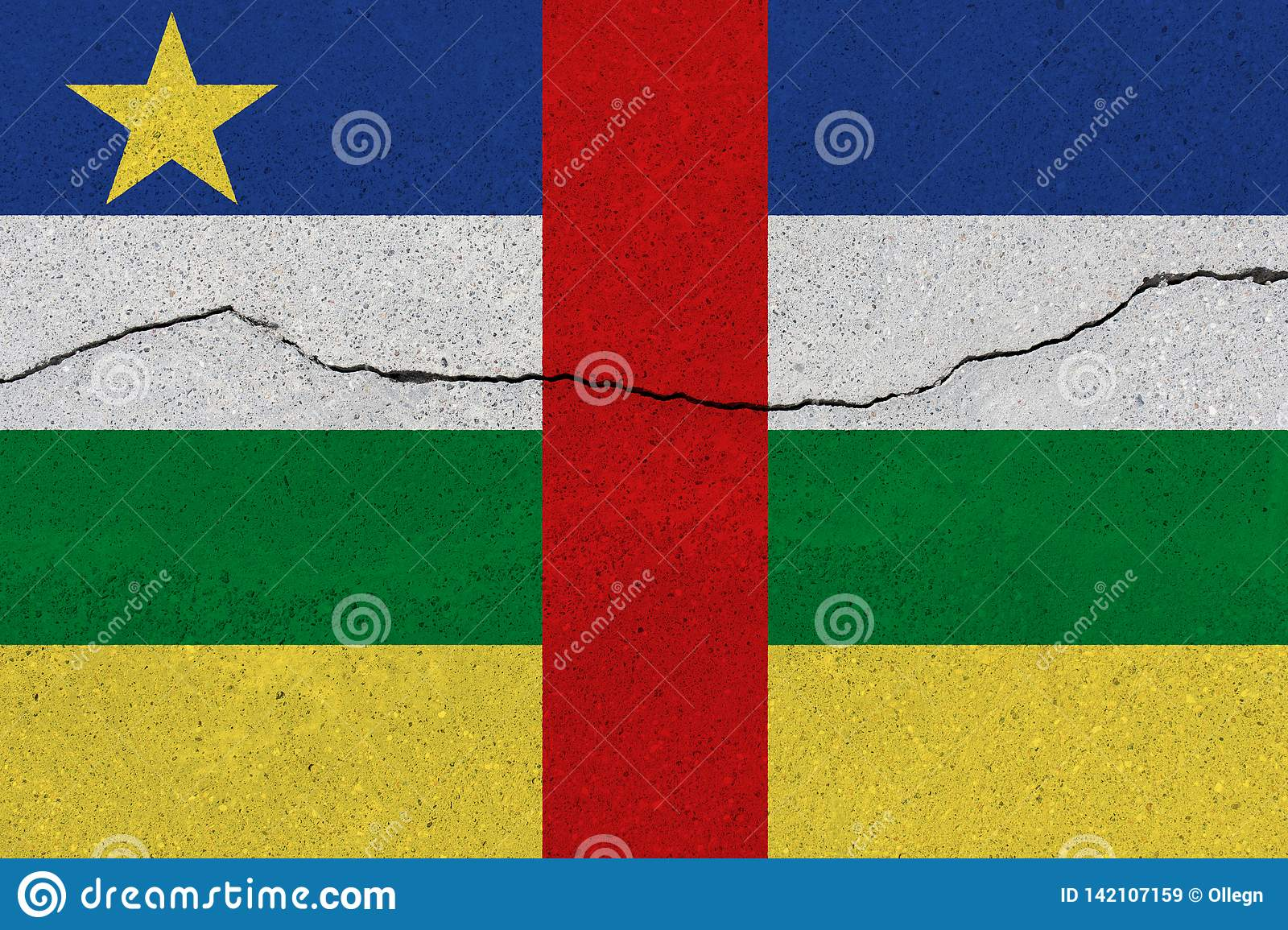 Central African Republic flag on concrete wall with crack