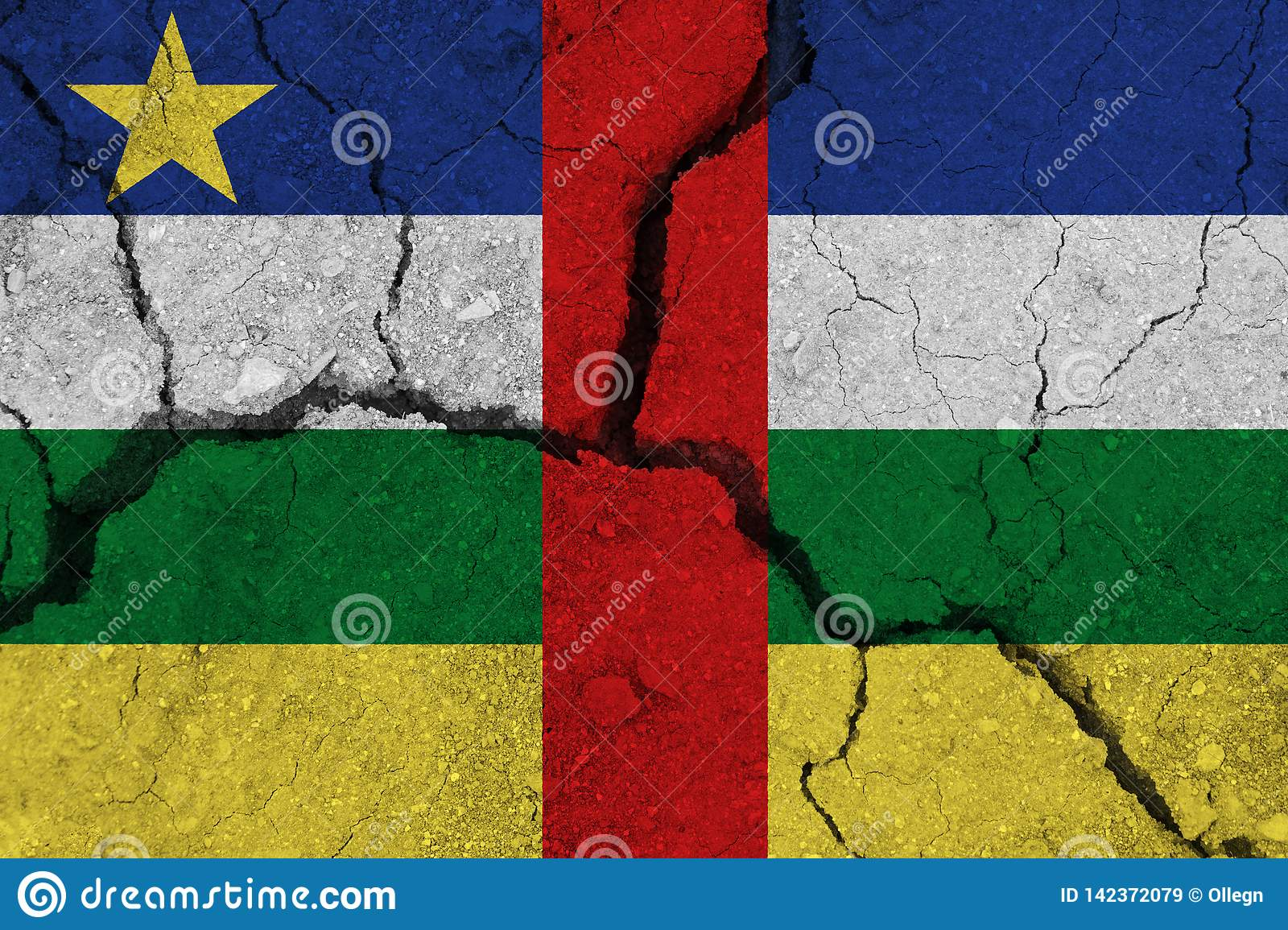 Central African Republic flag on the cracked earth