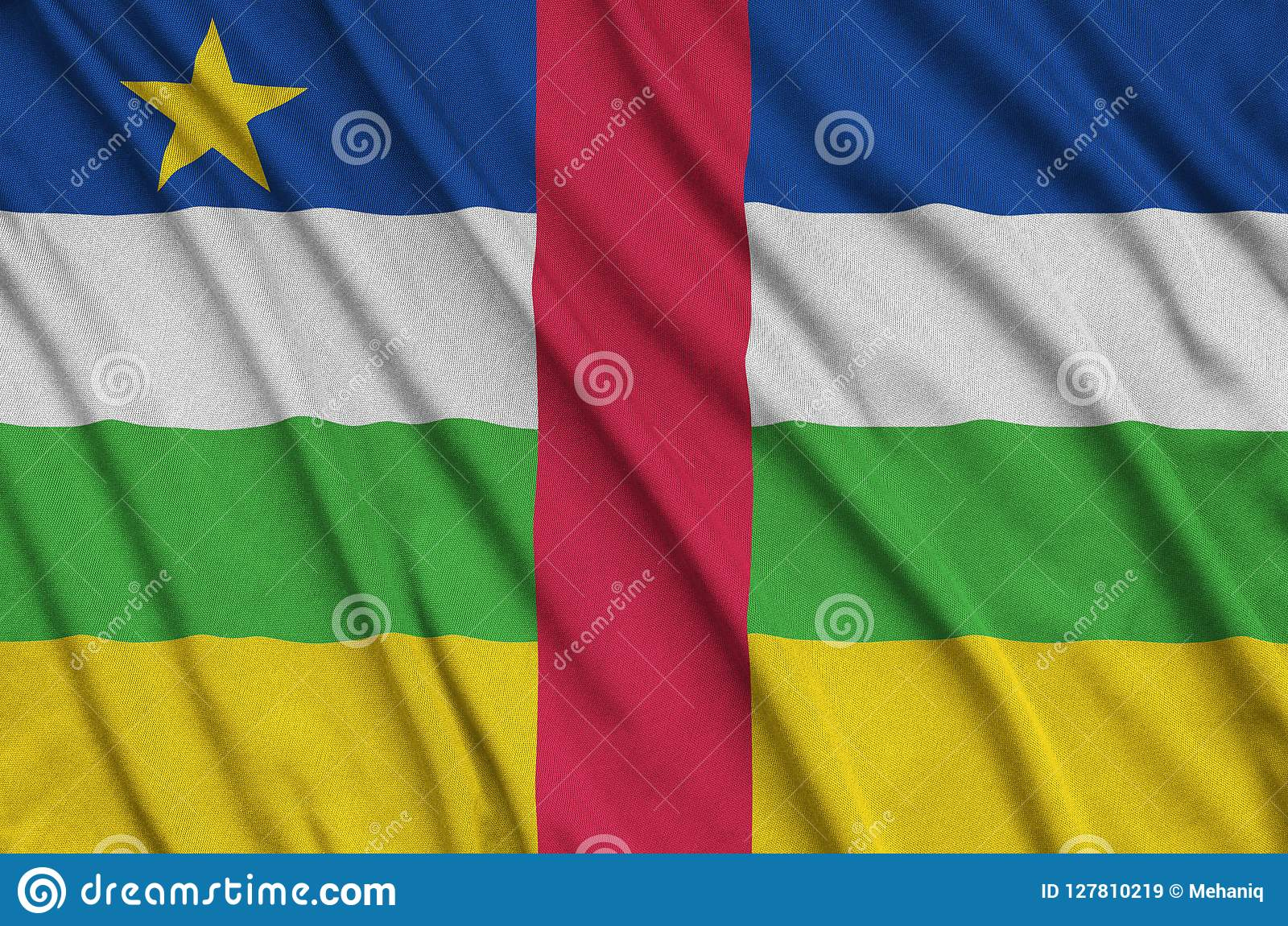 Central African Republic flag is depicted on a sports cloth fabric with many folds. Sport team banner