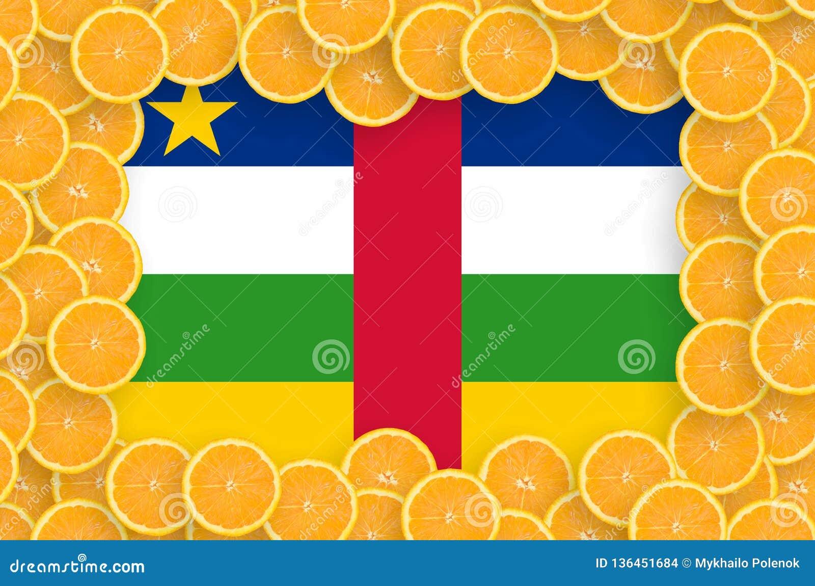 Central African Republic flag in fresh citrus fruit slices frame