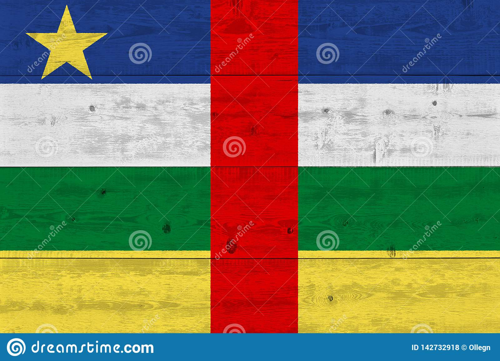 Central African Republic flag painted on old wood plank
