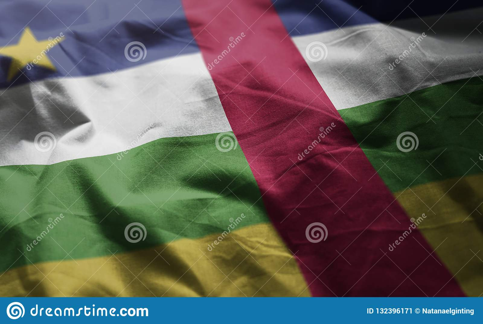 Central African Republic Flag Rumpled Close Up