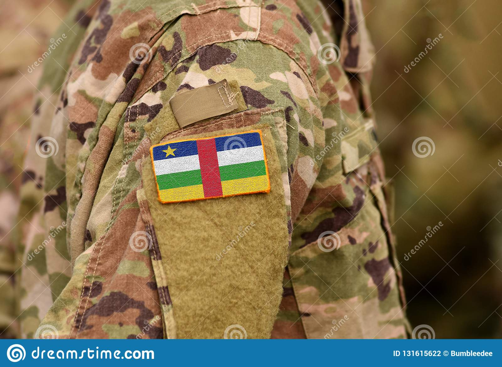 Central African Republic flag on soldiers arm. Central African Republic troops collage