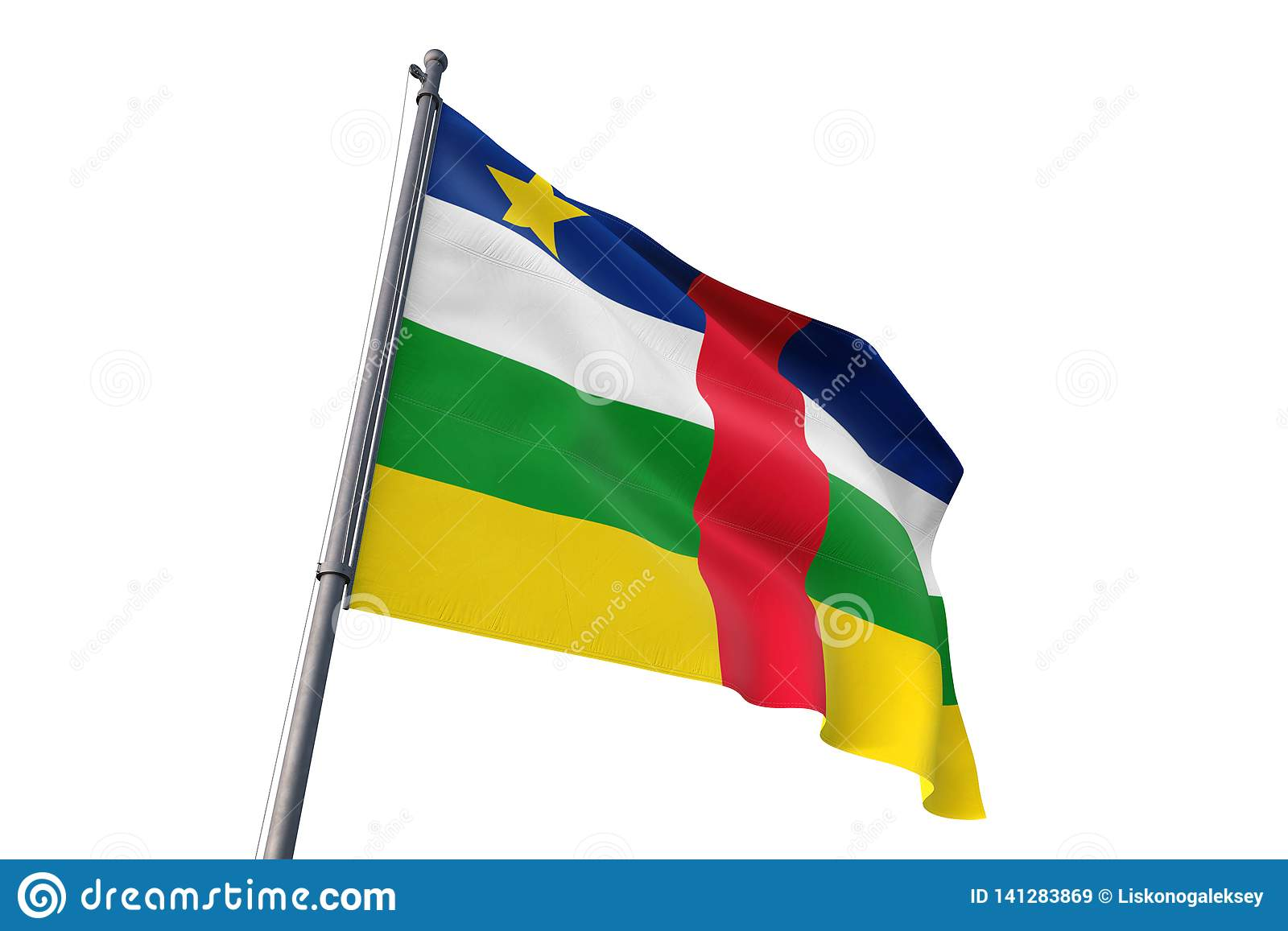 Central African Republic flag waving isolated white background 3D illustration