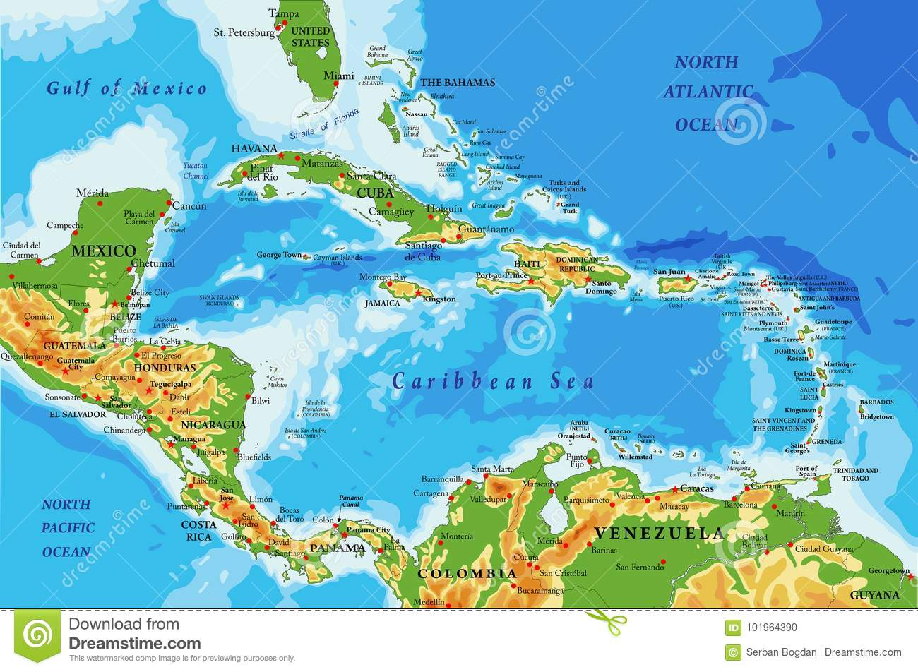 Map Of America And Caribbean.Central America And Caribbean Islands Physical Map Stock Vector