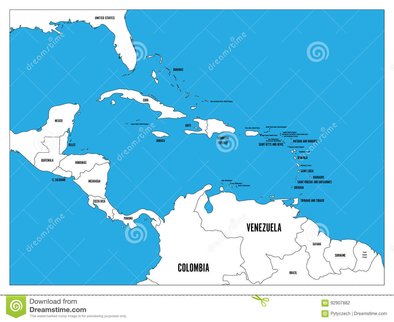Black political world map with country borders and white state name central america and carribean states political map black outline borders with black country names labels gumiabroncs Image collections