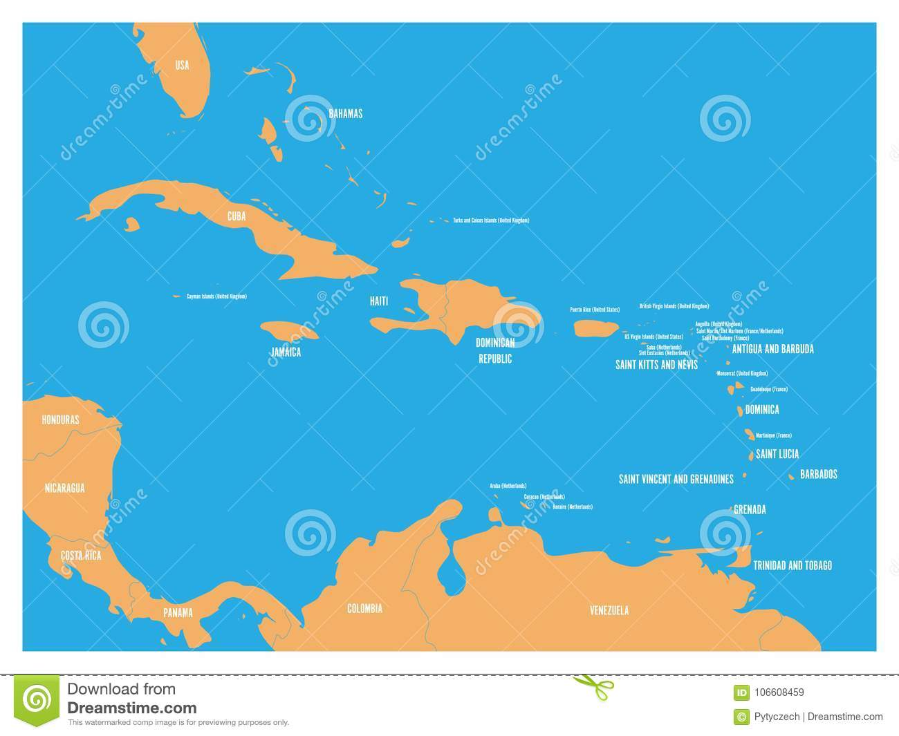 Central America And Carribean States Political Map. Yellow Land With ...