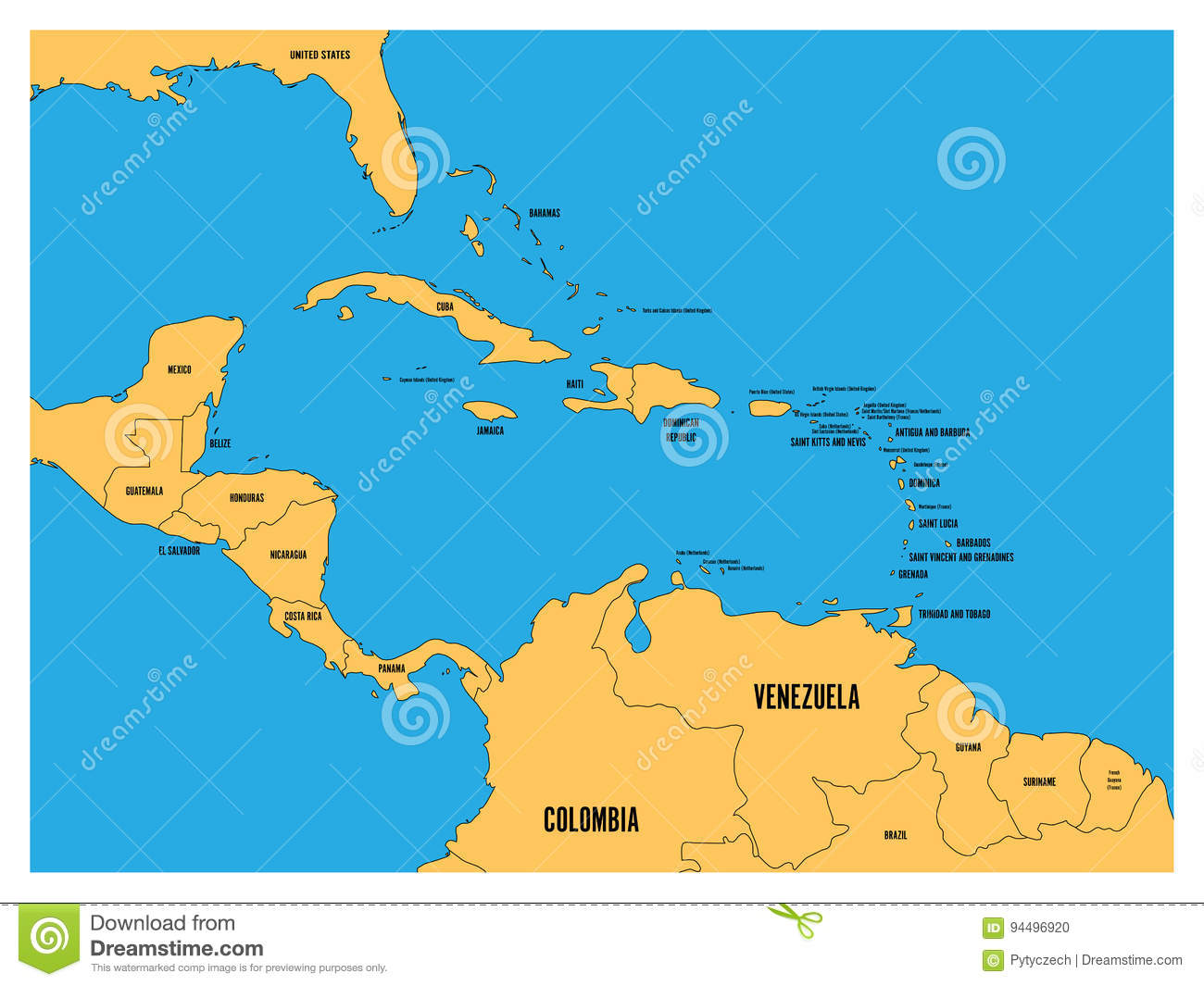 Central america and carribean states political map yellow land with royalty free vector download central america and carribean states political map yellow land with black country names labels gumiabroncs Images