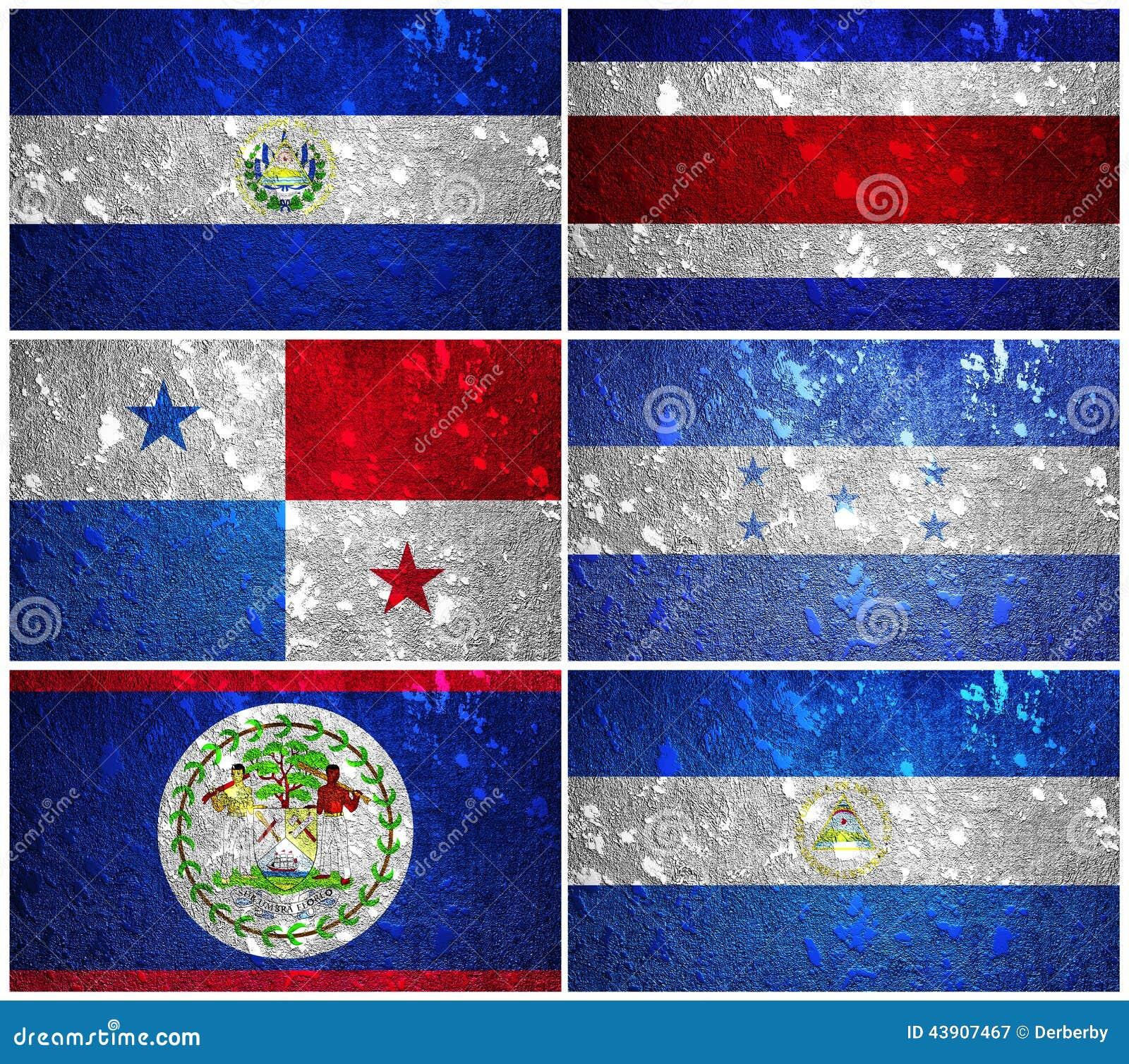 Panama Belize El Salvador Honduras Nicaragua And Costa Rica Flags Of Wall Texture