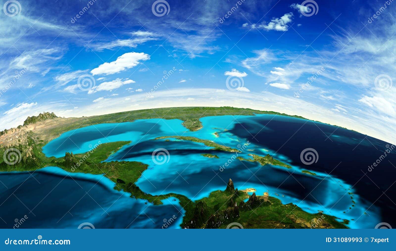 Central America landskap från utrymme