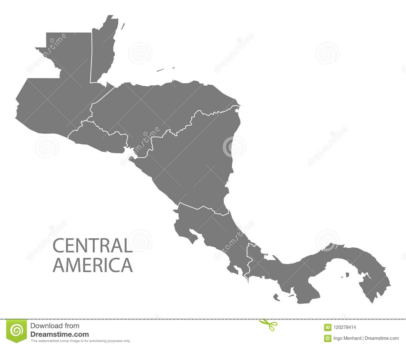 Central America Map With Country Borders Grey Illustration ...