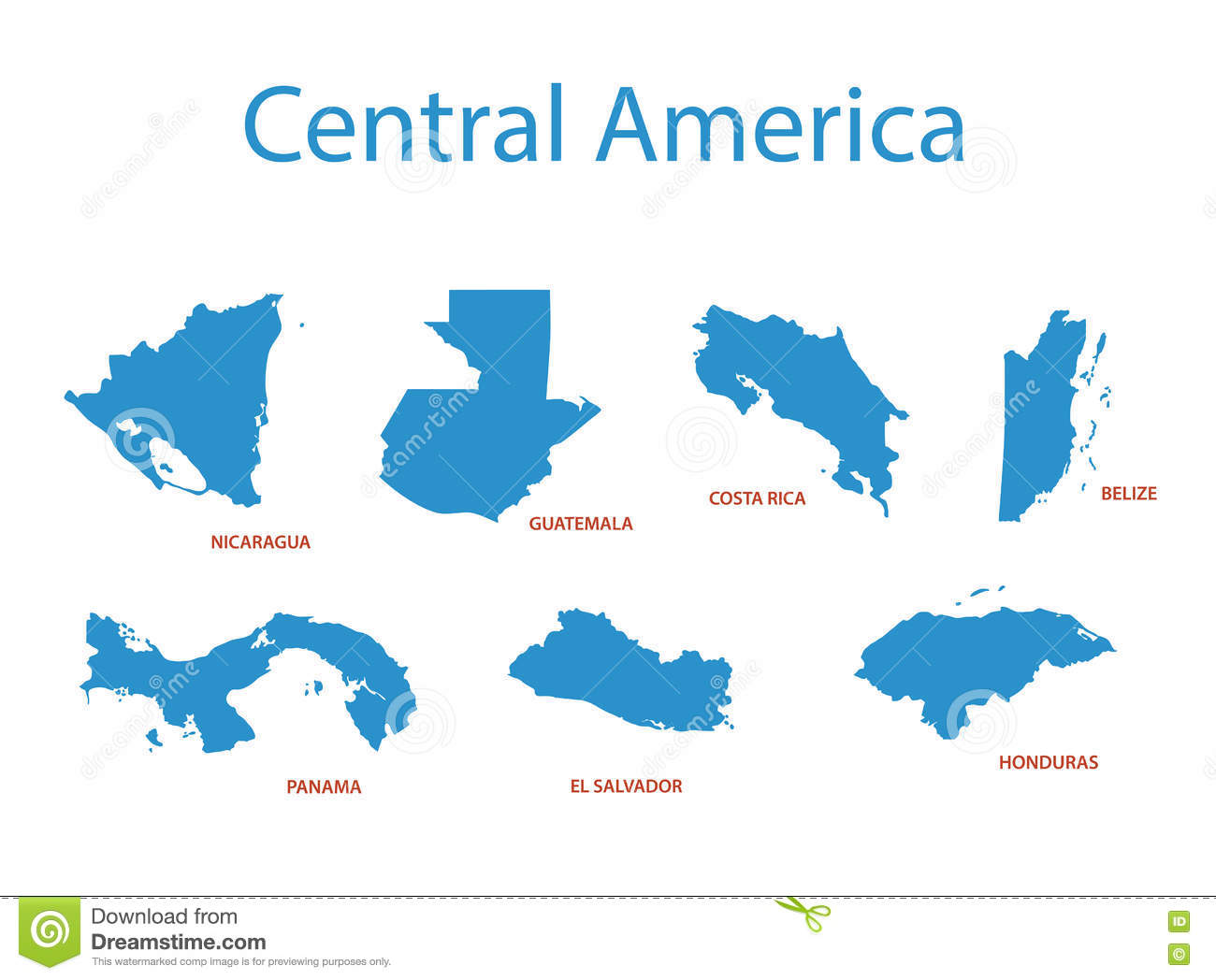 Central America - Maps Of Territories - Vector Stock Vector ...