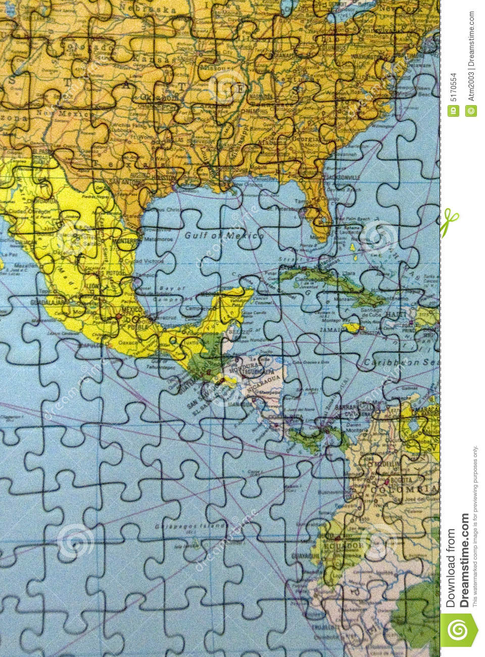 Central America puzzle stock illustration. Illustration of blue ...