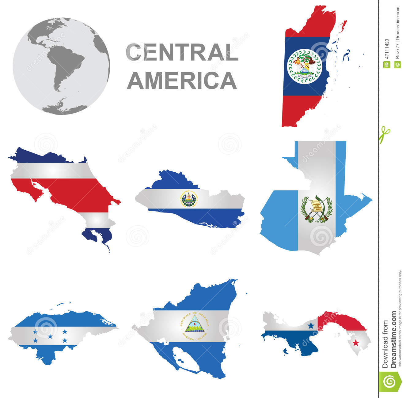 Central American Countries Stock Illustration - Image: 47111423