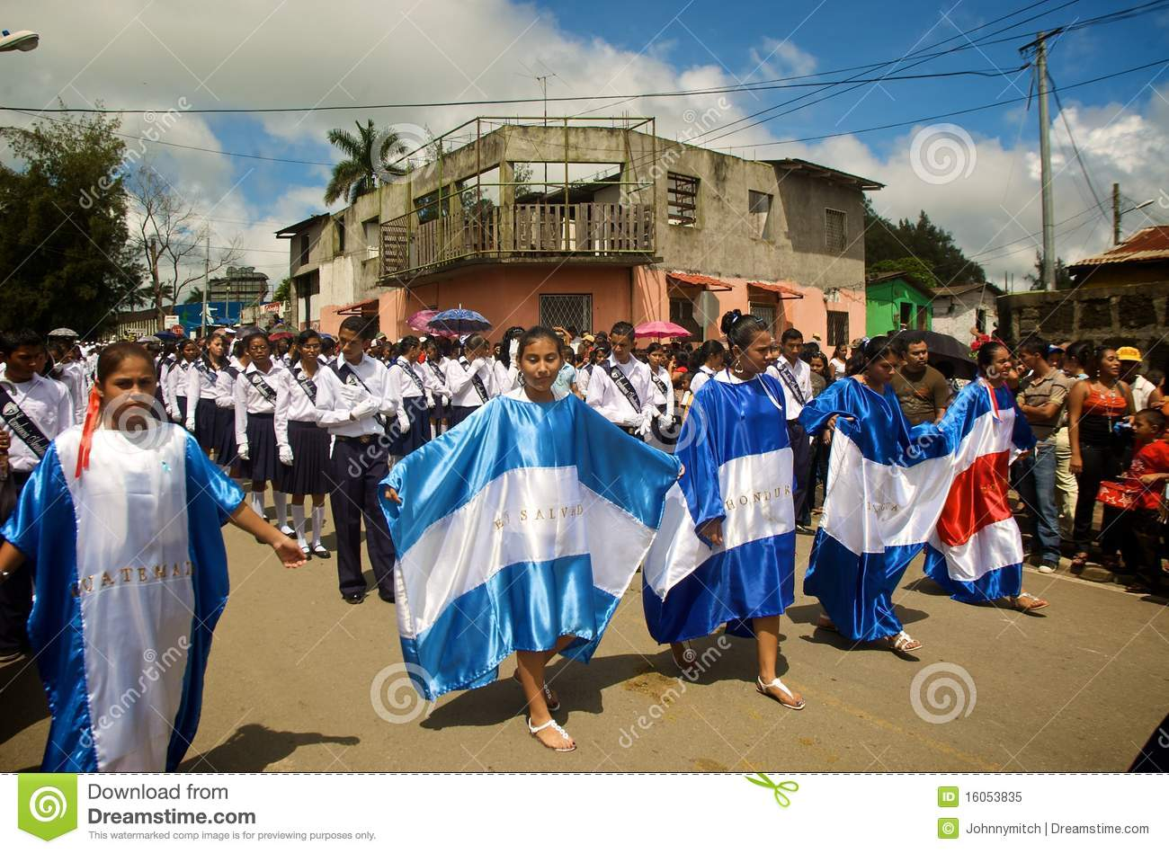 central american flags in parade editorial image image of color