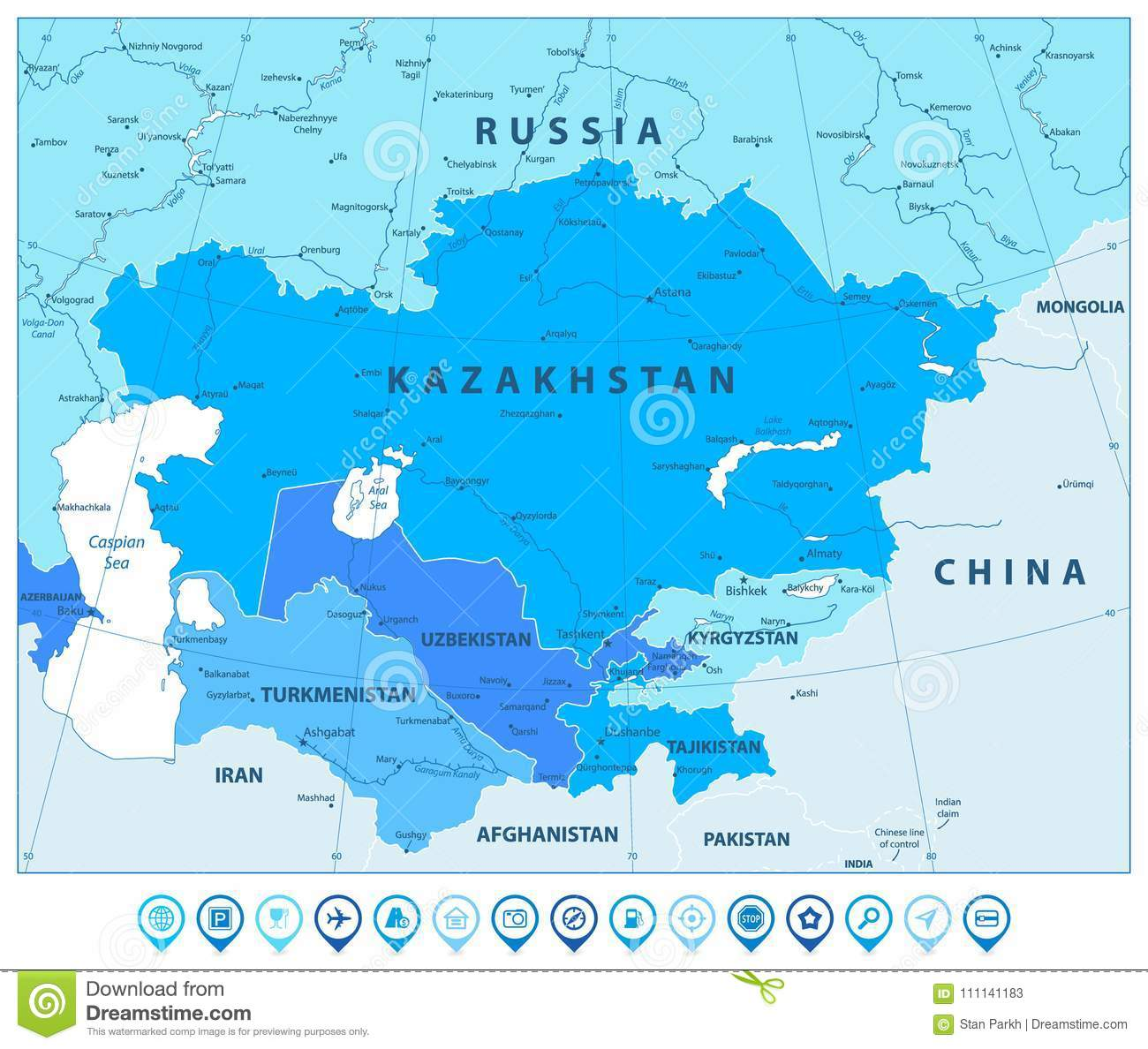 Central Asia Political Map In Colors Of Blue And Map Pointers Stock ...