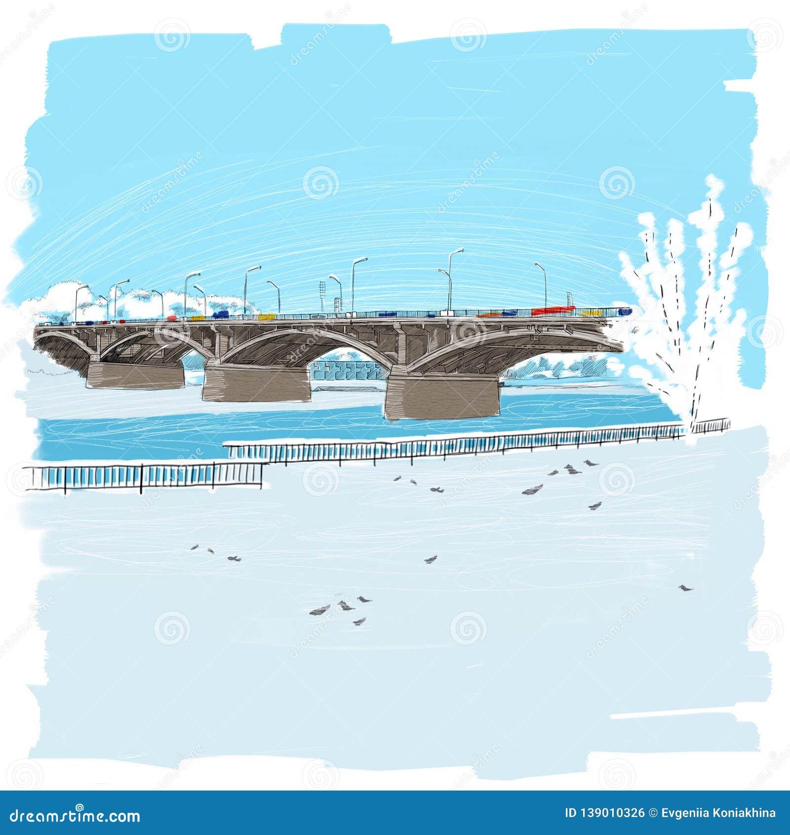 Central bridge in Krasnoyarsk illustration