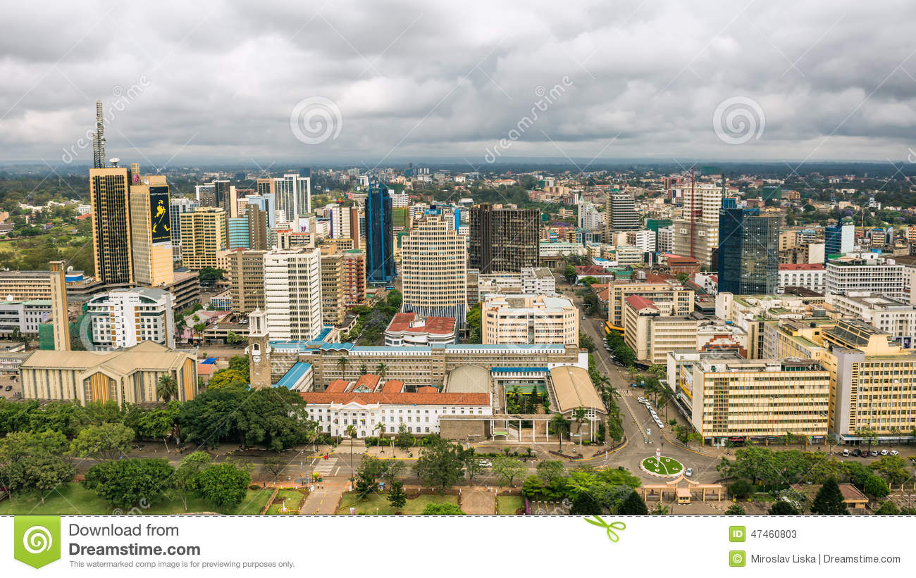 Central business district of nairobi kenya editorial stock photo
