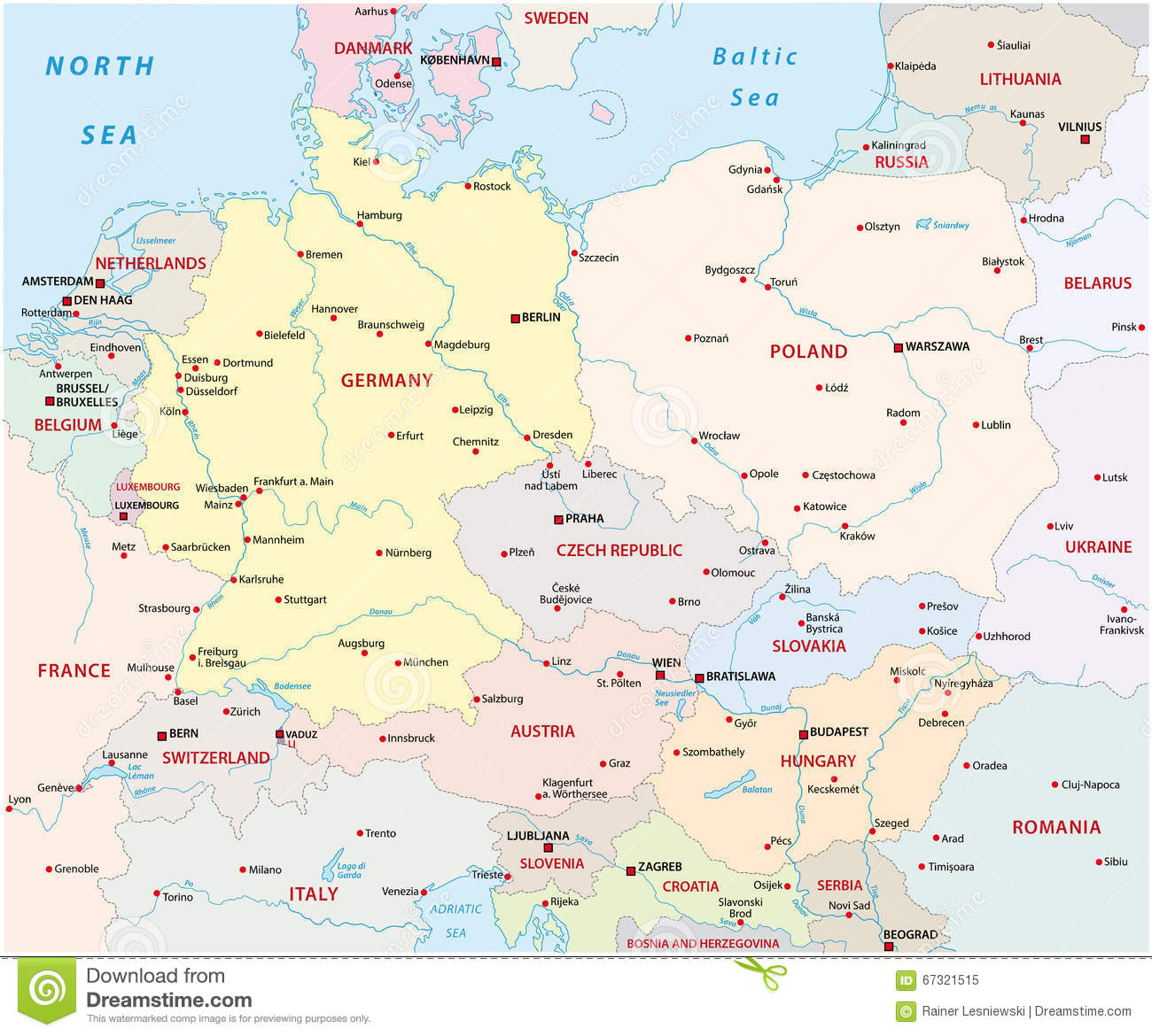 Central europe map stock illustration. Illustration of europe - 67321515