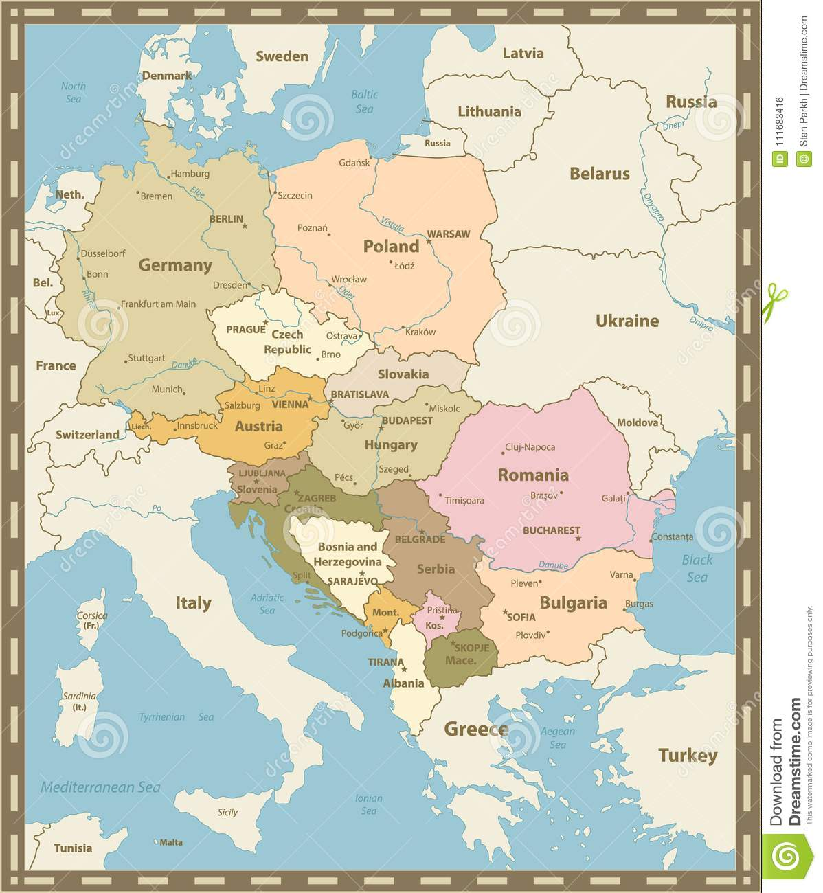 Mapa De Europa Central.Central Europe Map Vintage Colors Stock Vector