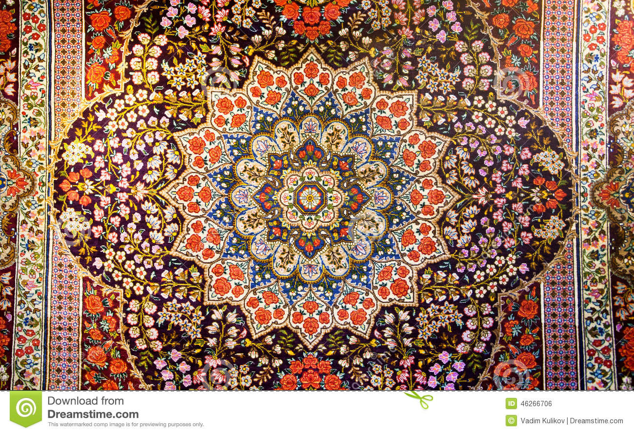 central fragment beautiful oriental persian carpet colorful texture pattern leaves flowers 46266706 - Asia Tapete