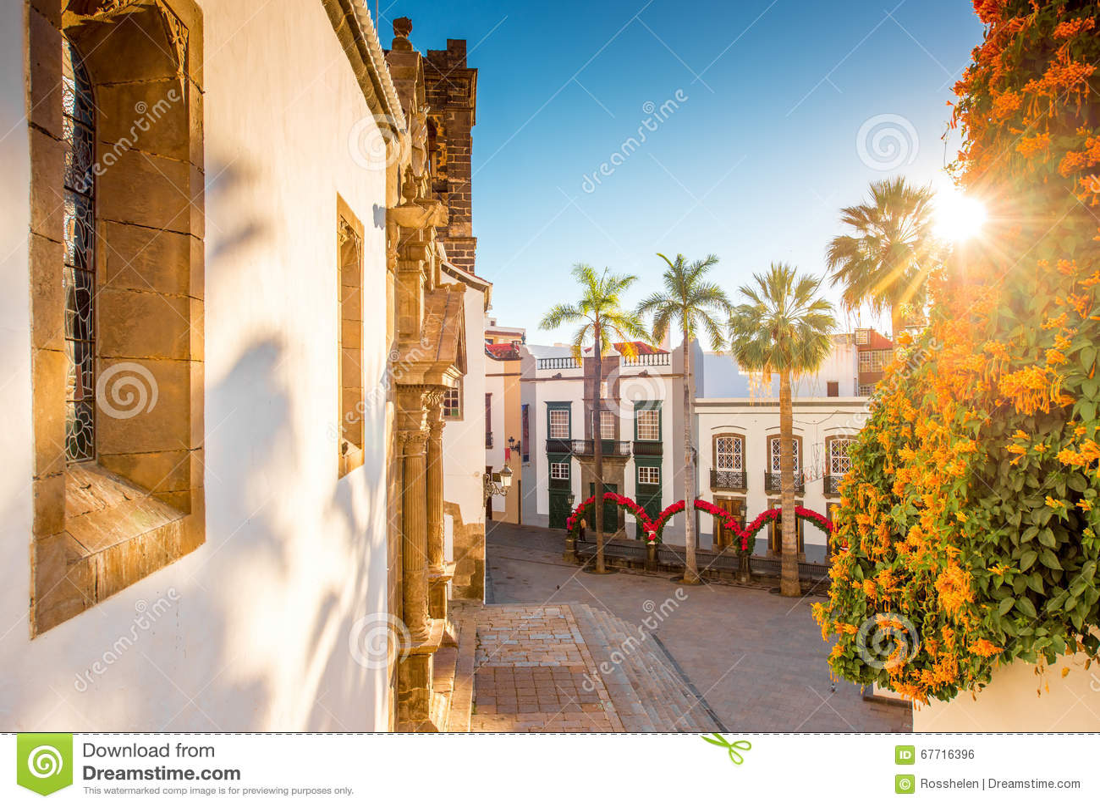 Central fyrkant i den gamla staden Santa Cruz de la Palma