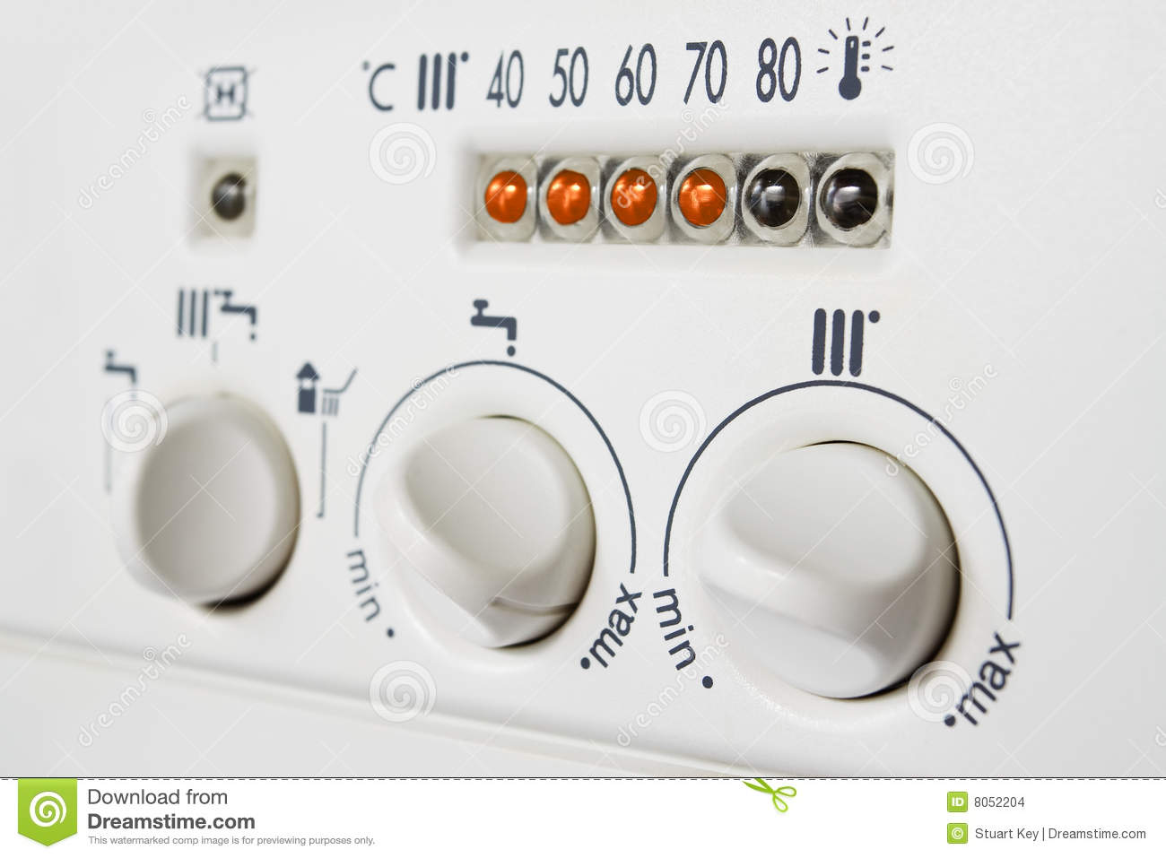 Central Heating Boiler Controls Stock Photo - Image of domestic ...