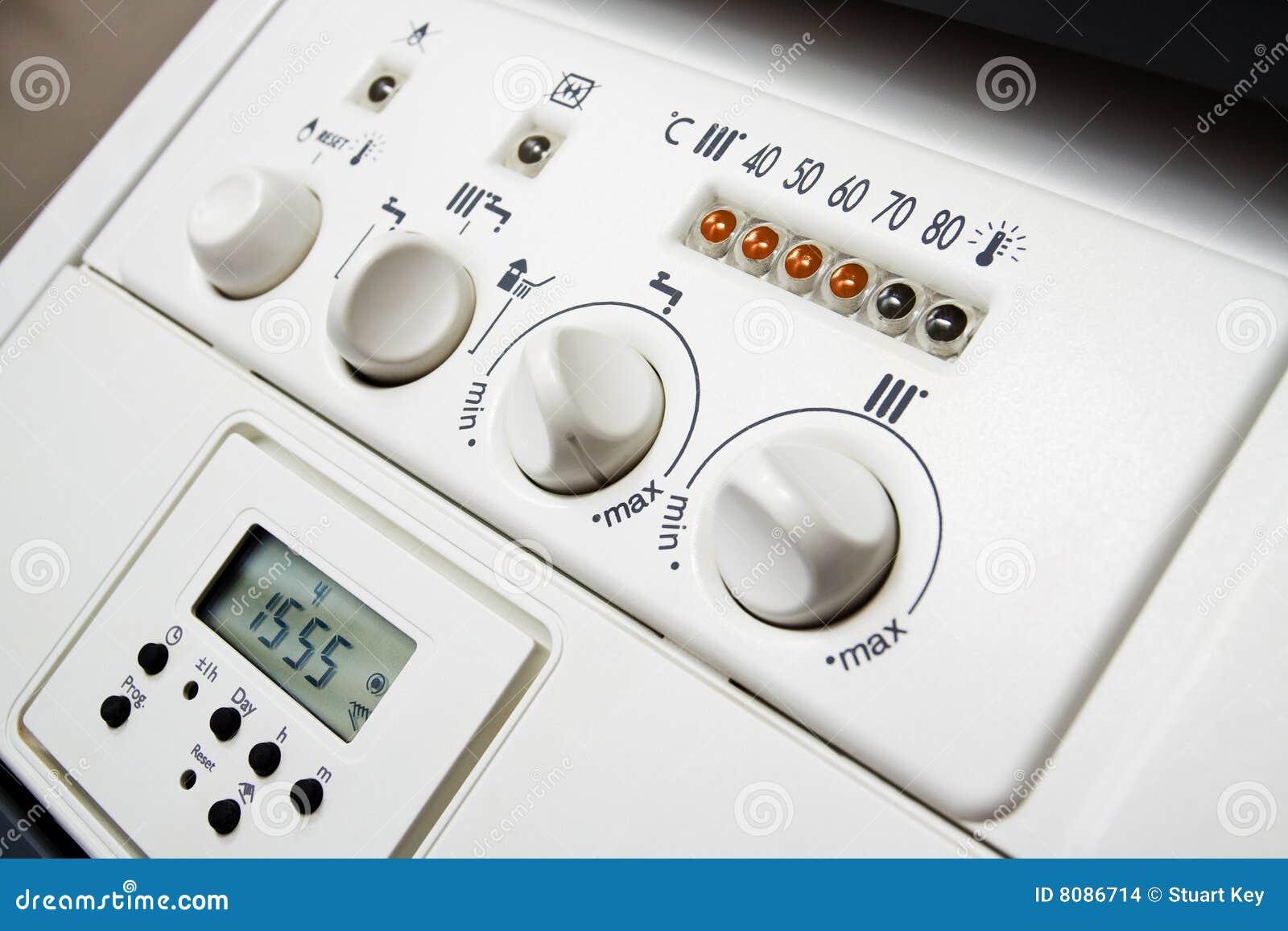 Central Heating Boiler Panel Stock Photo - Image of dial, boiler ...