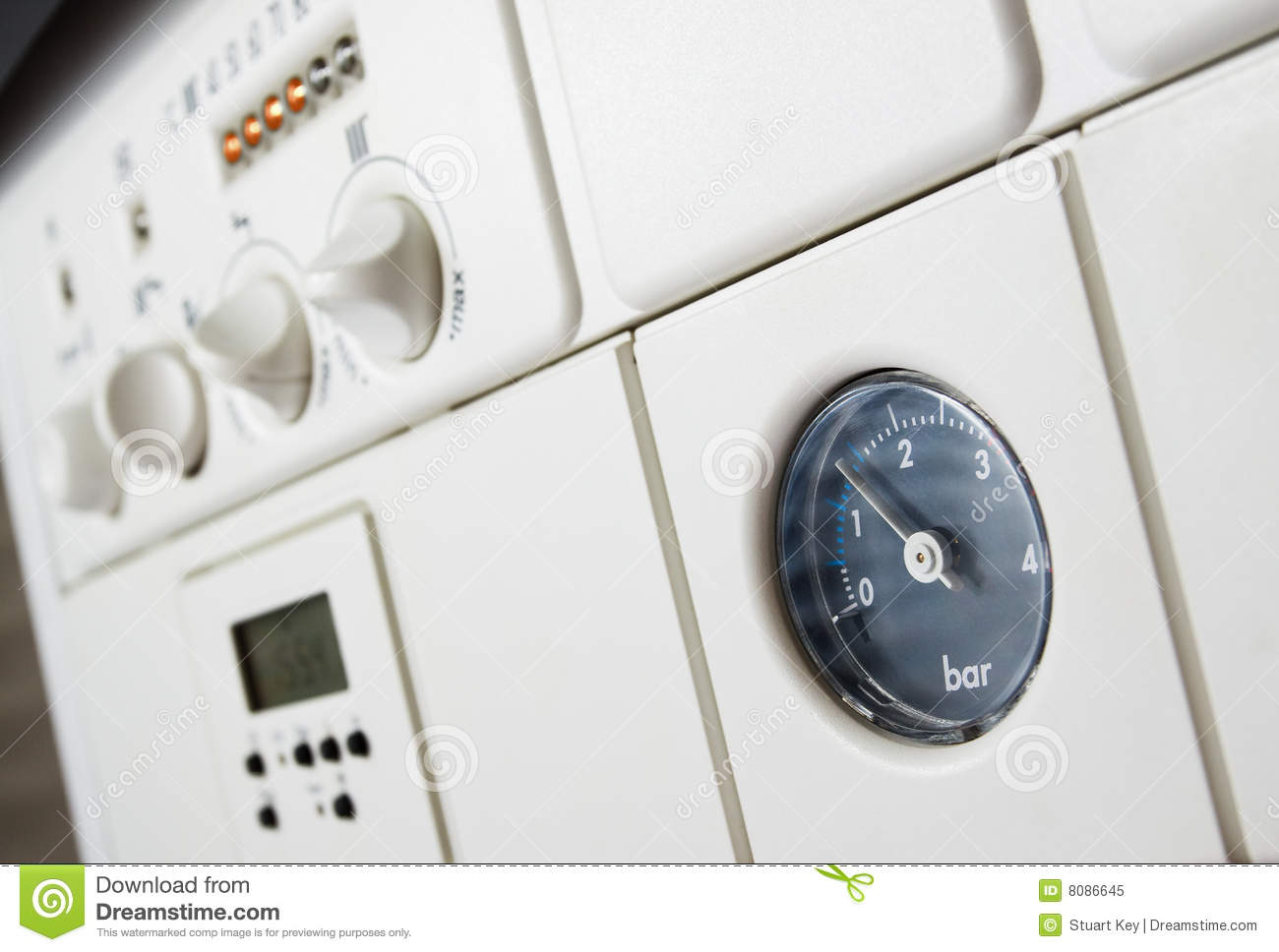 Central Heating Boiler Pressure Stock Image - Image of control ...