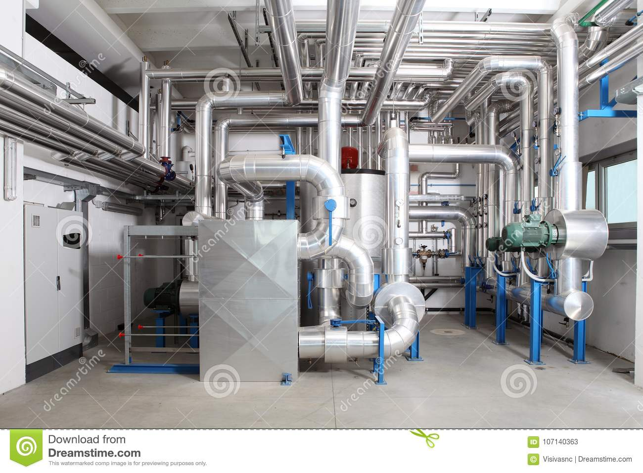 Central Heating And Cooling System Control In A Boiler
