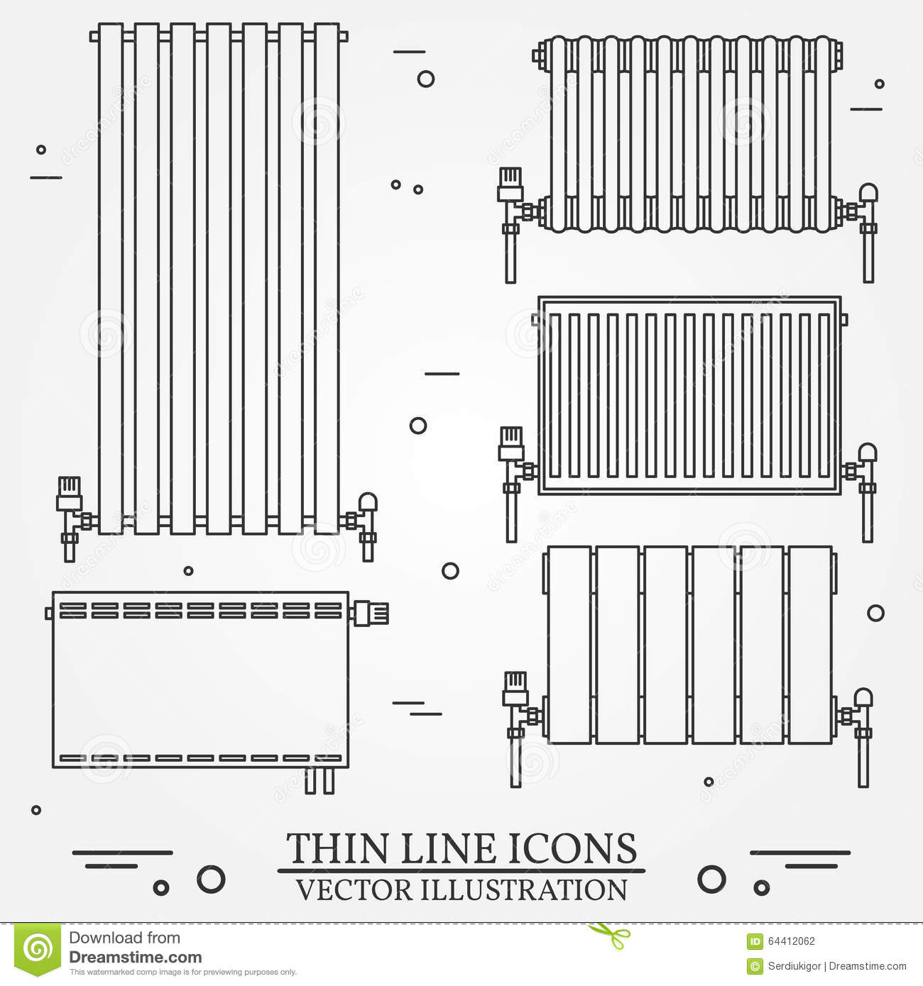 Central Heating Radiators Icons Thin Line For Web And Mobile, Mo ...