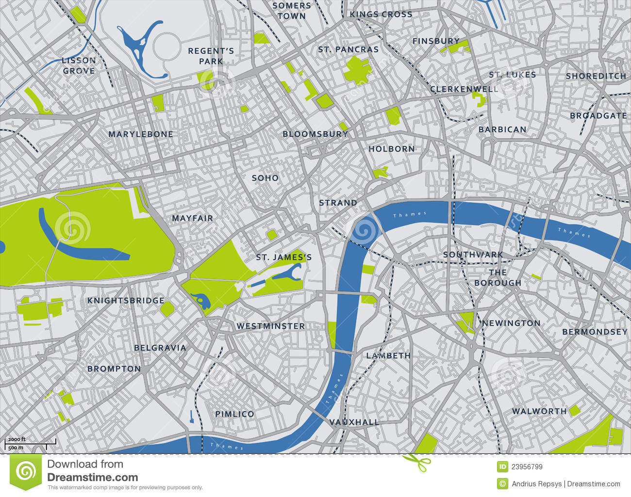 Free London Map.Central London Vector Map Stock Vector Illustration Of Road 23956799