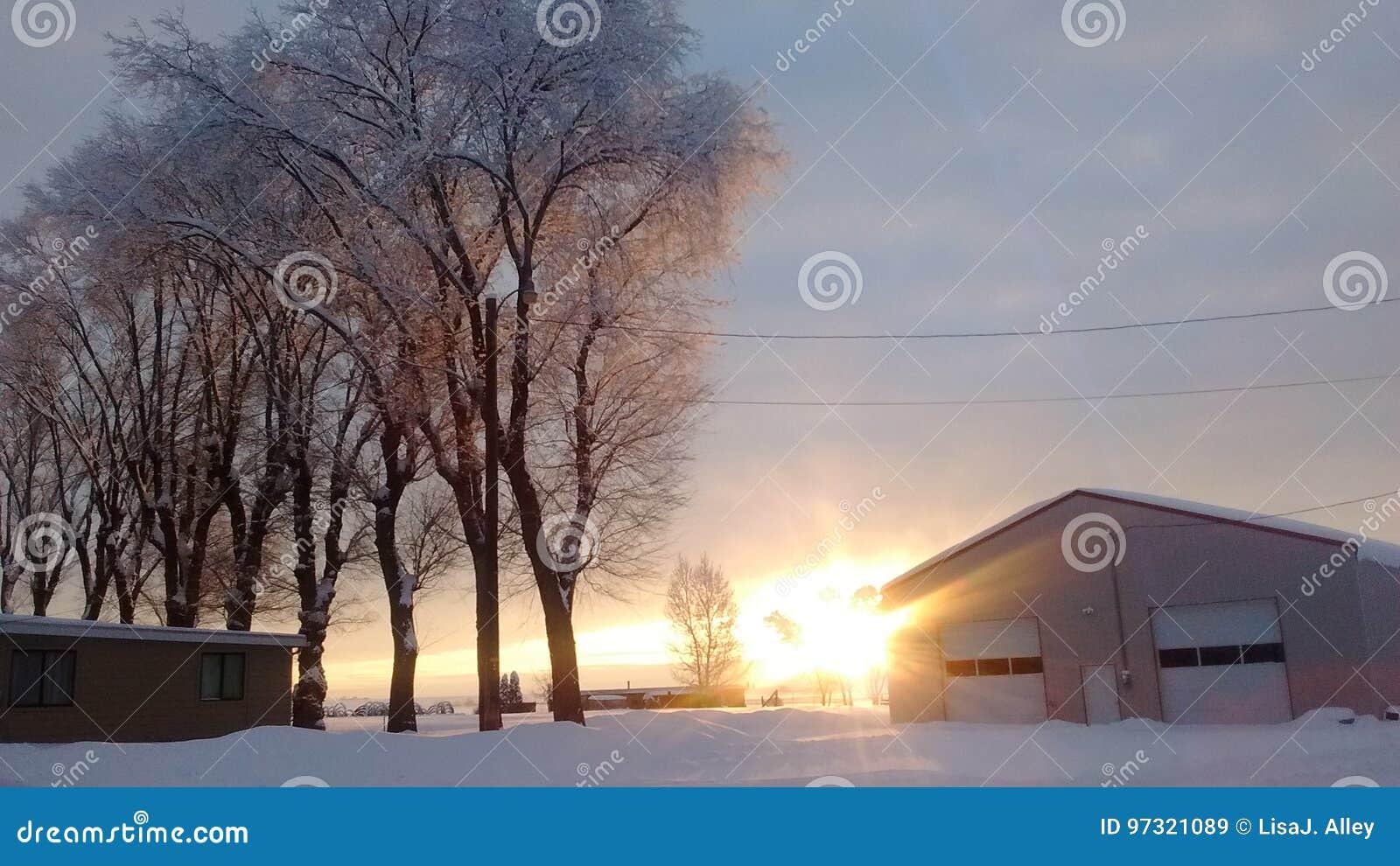 Central Oregon snowy sunset farm