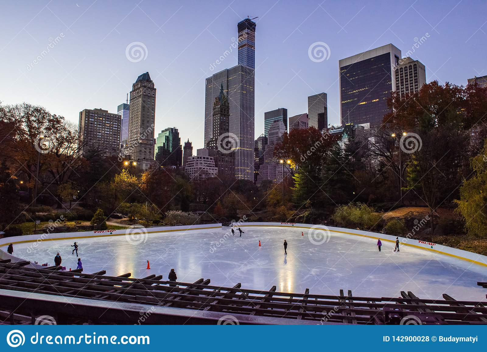 Central Park ice rink at sunrise, Manhattan