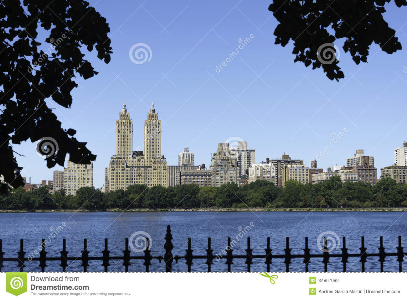 Central Park Reservoir Stock Photo Image Of Apartment