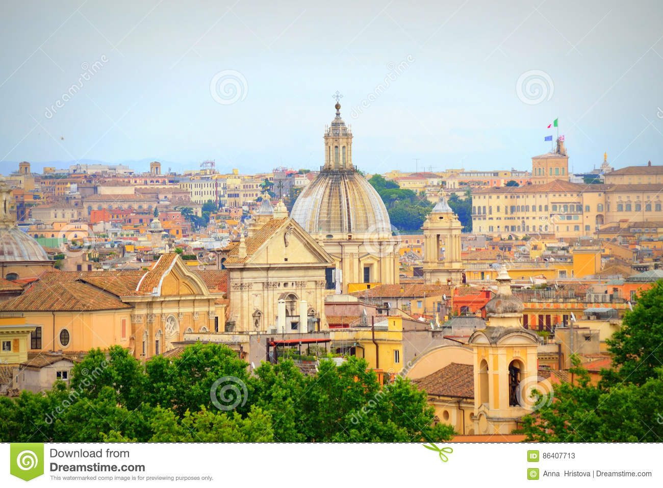 Central Rome view Italy stock image. Image of city, destination ...