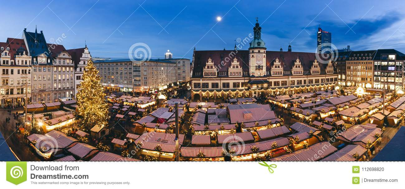 Central square of Leipzig, Germany, with Christmas market