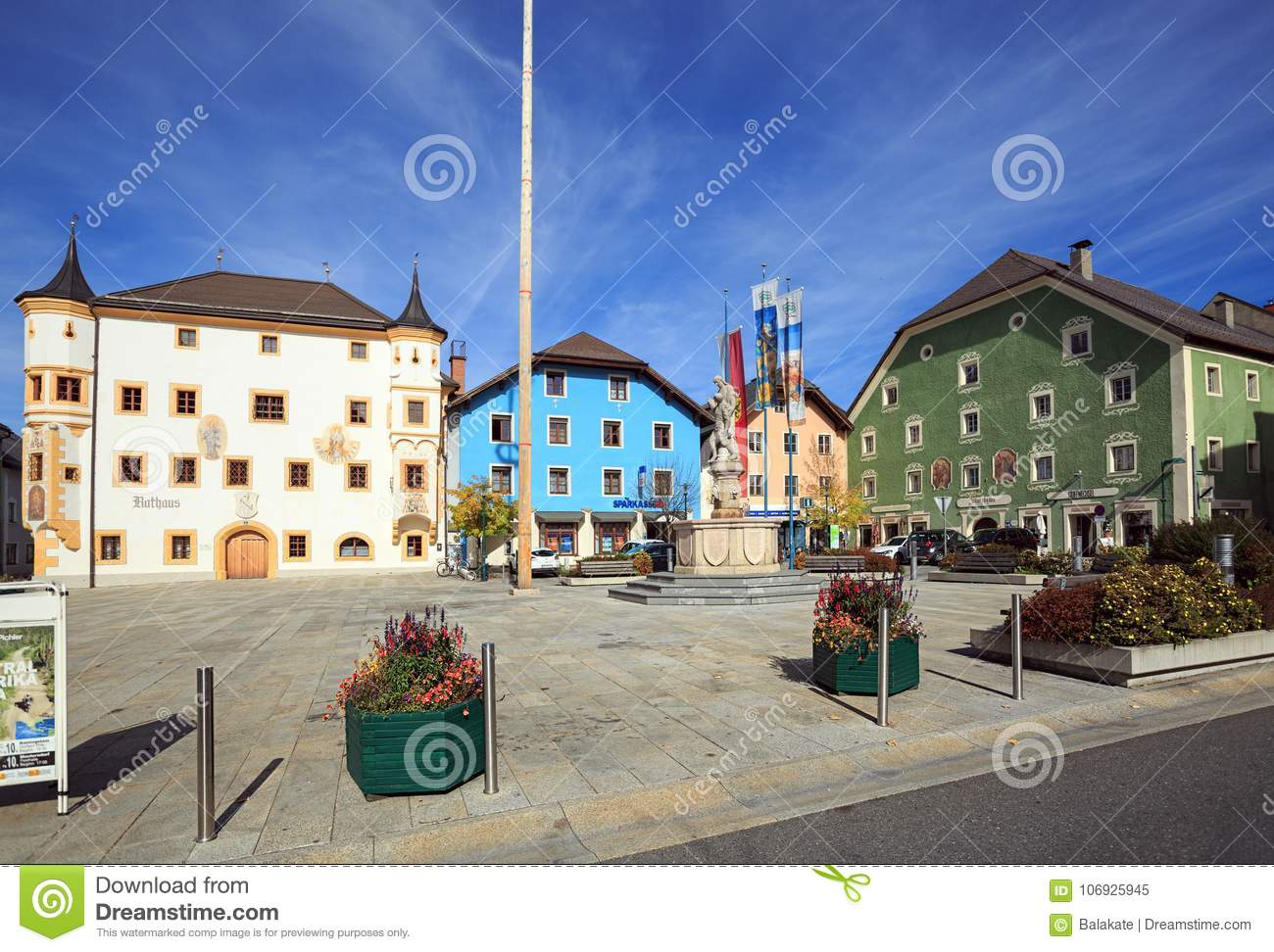 Central square of the market town of Tamsweg, Austria