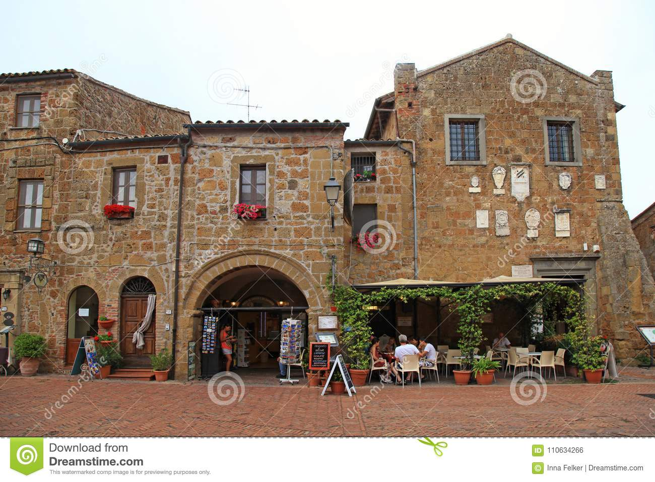 Central square of Sovana, a medieval village in Grosseto province, Tuscany, Italy.
