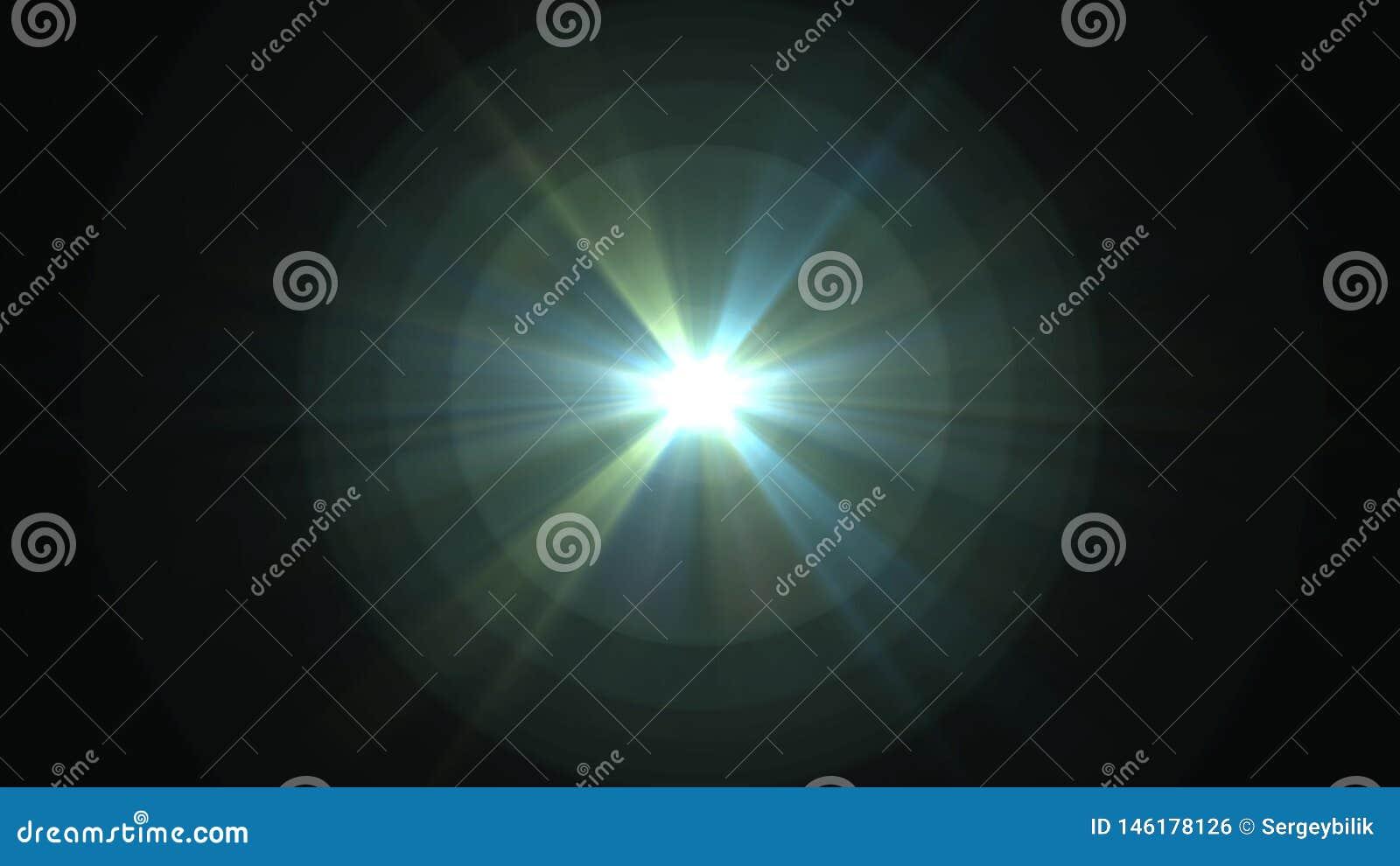 Central star shine optical lens flares shiny bokeh illustration art background new natural lighting lamp rays effect