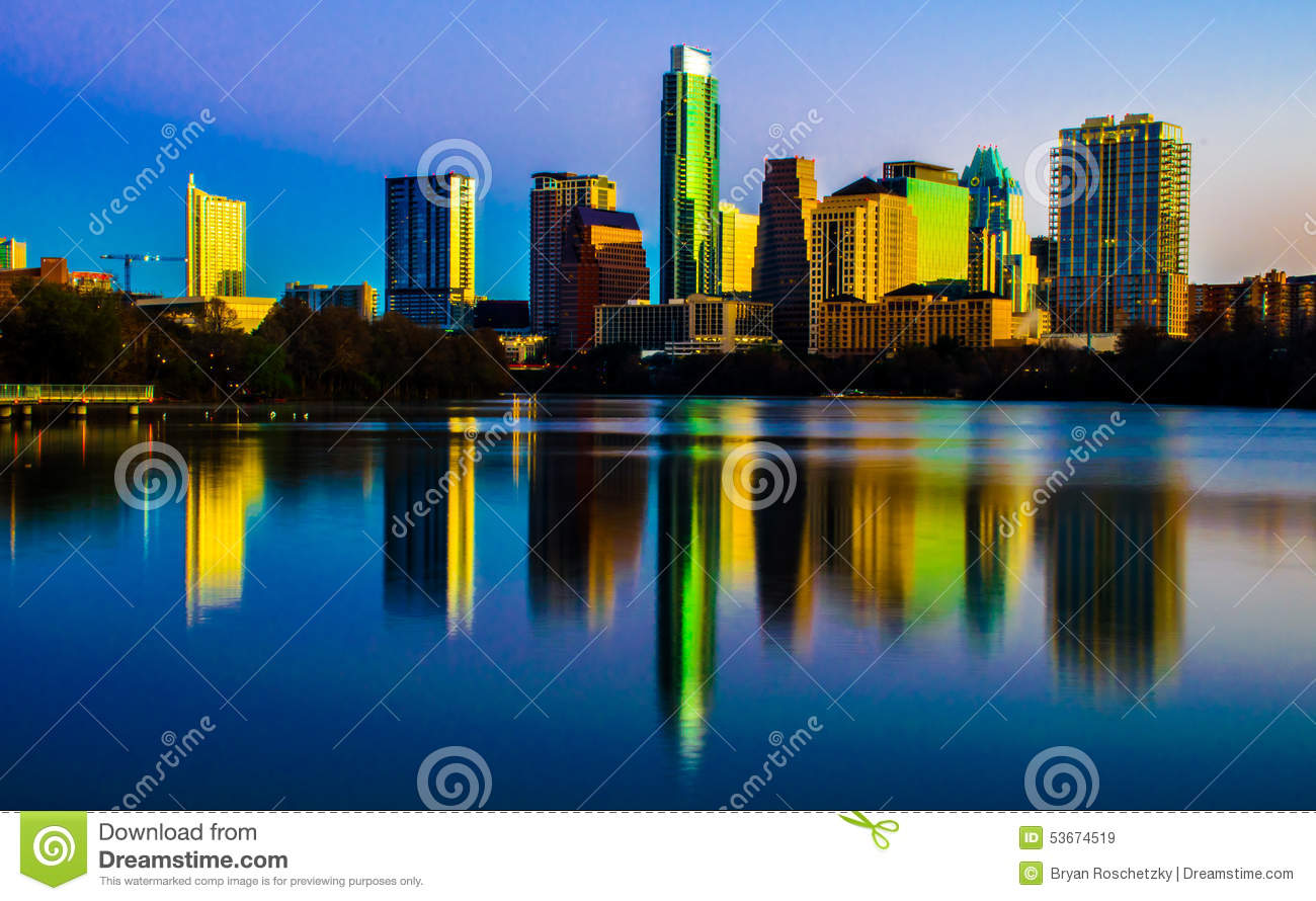 Central Texas Magical Skyline Reflection Austin Texas
